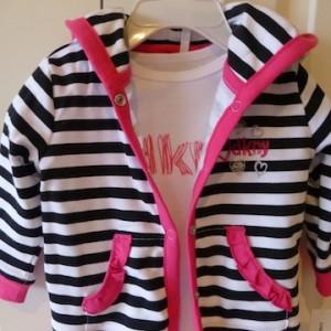DKNY Girl's Striped Snapsuit Set